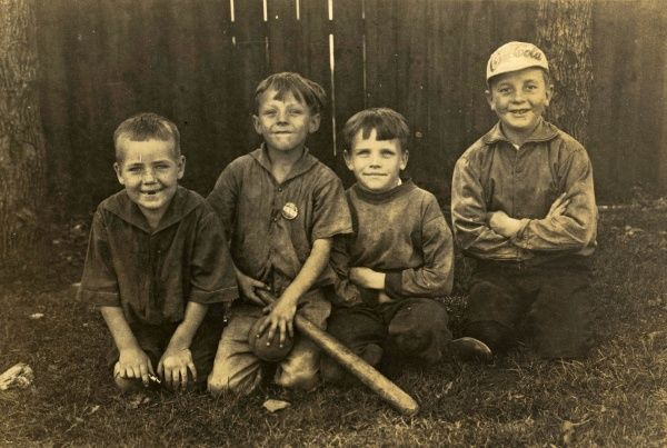 Boys in a Baseball team in Canada, 1925