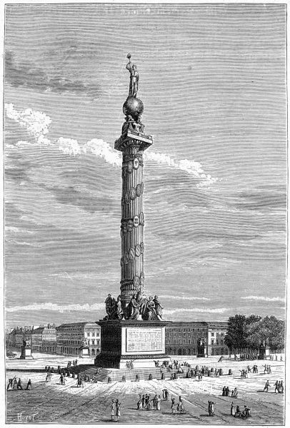 Proposed monument on the site of the Bastille to commemorate the event which signalled the outbreak of the glorious Revolution