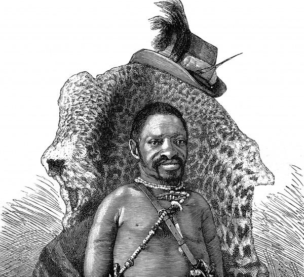 A sketch made from a photograph by Mr F. Armstrong. The Witch Doctor pictured is said to be highly regarded within his tribe. 'His line of practice is not only to cure illness, but also to locate thieves, find the whereabouts of stolen goods