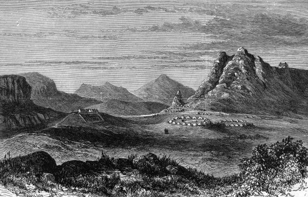 Thaba Bosigo, the stronghold of the Basuto chief Masupha, in South Africa. Date: 1880