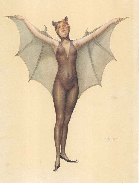 Illustration by A.Penot of a girl dressed in a transparent bat outfit