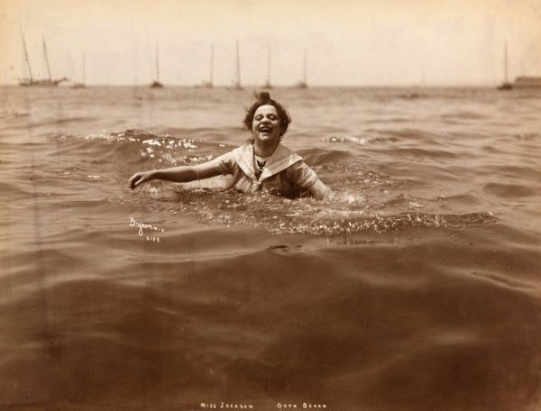 Miss Jackson, Bath Beach. People paddling and bathing at the seaside in bathing suits