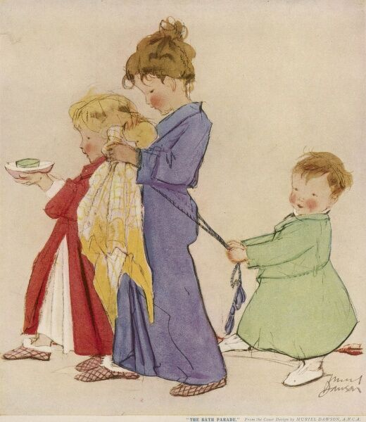 Three children dressedin pyjamas, dressing gowns and slippers march in a procession towards the bathroom armed with towels and soap