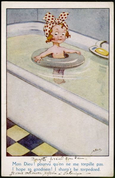 "A little girl in her bath: ""I hope to goodness I shan't be torpedoed!&quot"