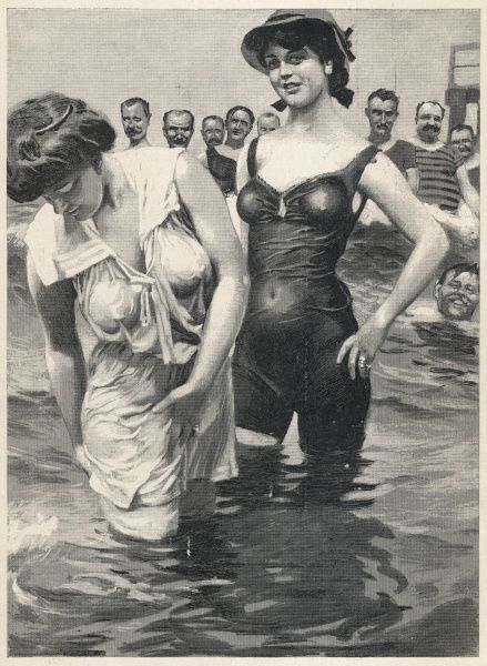 two girls attracting male attention. Not surprising as their wet bathing costumes cling seductively to their figures