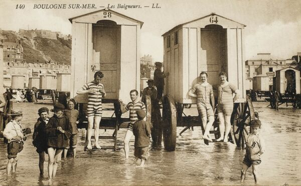 Bathers and their bathing machines in the shallow waters at Boulogne-sur-Mer, France