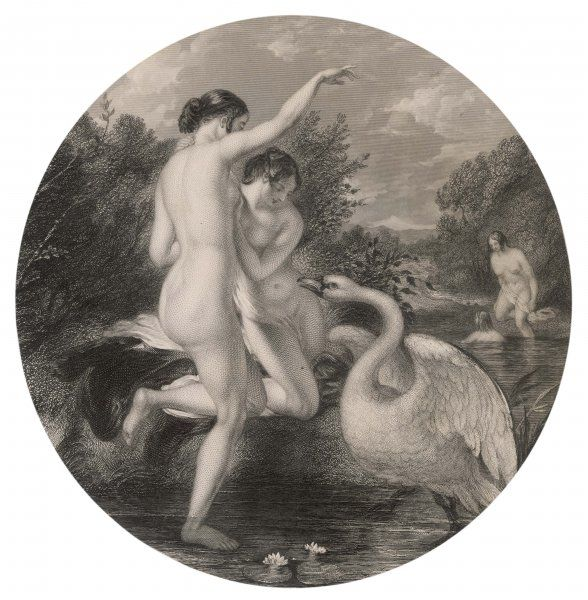 'Bathers surprised by a swan' is the title of this charming picture, but I dare say the swan was equally surprised by the bathers