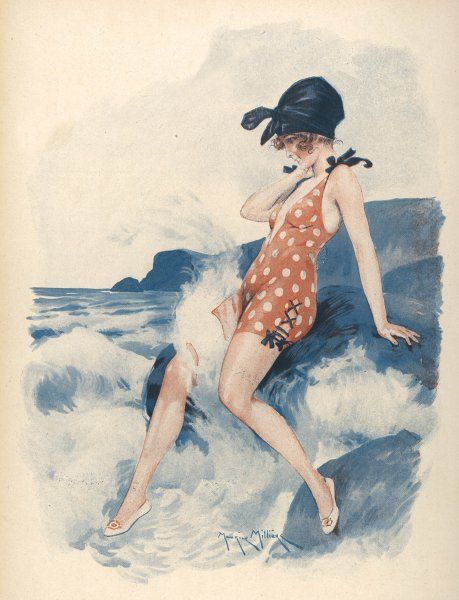 An elegant young bather sitting on a rock encounters an 'amorous wave&#39