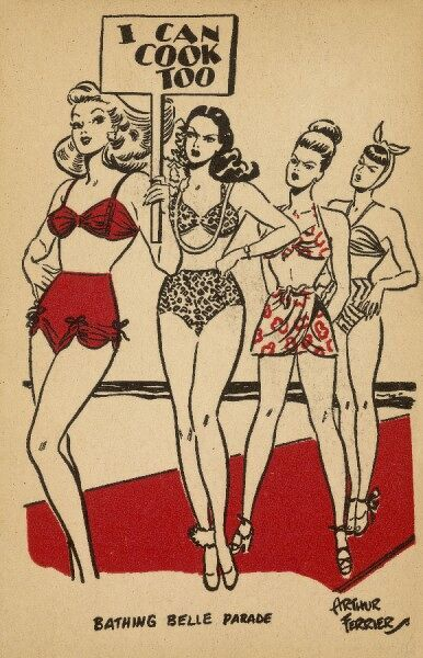 Three disgruntled beauty queens look particularly annoyed at a sassy woman in a red bikini holds a placard boasting that she can cook too!