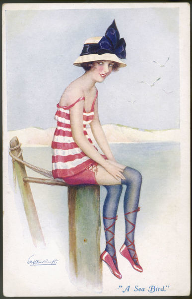 A flirtatious young woman in a two-piece bathing costume of side lacing shorts & striped tunic adjusts her black stockings. N.B espadrilles with ribbon lacing