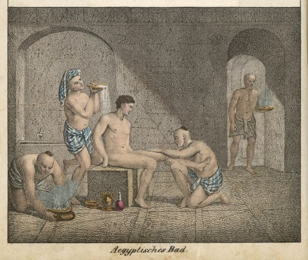 An Egyptian of the upper classes has four people to bathe him