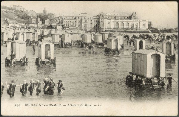 Rows of bathing machines at Boulogne-sur-mer