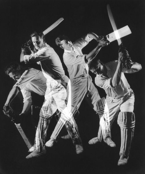 A combination action photograph of a batsman, in full cricket kit, plays four different shots, from the classic forward defensive shot (left) through to a cover drive (right). Photograph by Heinz Zinram Date: Late 1950s