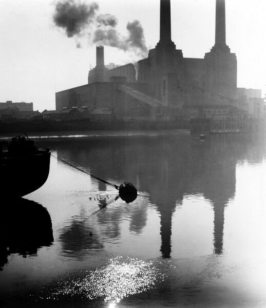 Battersea Power Station on a misty morning. Date: 1940s