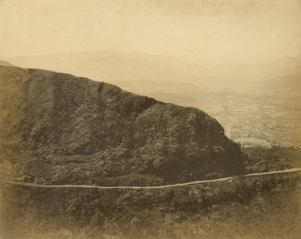 Battery Hill; cart-road to railway; the Concan and Campoolee Station 1,800 ft below; at 11 miles Date: 1856