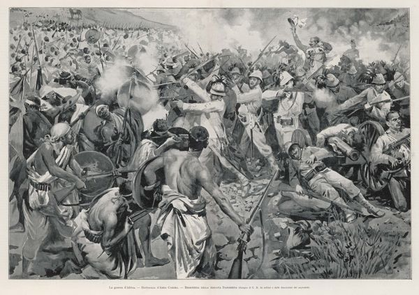 The Battle of Adowa in which Menelik's Ethiopian forces defeated the Italians; Brigadier General Dabormida's troops encounter fierce resistance