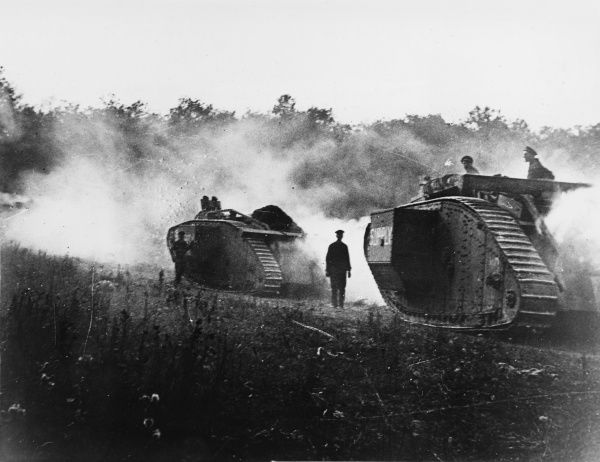 British tanks going into action between Amiens and Bouchoir at the Battle of Albert (First Battle of the Somme) on the Western Front in France during World War I in 1918