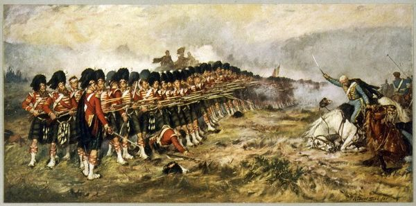 The 'Thin Red Line' of the 93rd Highlanders repel the Russian cavalry