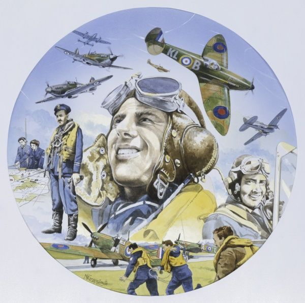 A circular painting depicting the brave men of the Royal Airforce on the ground and in action during the Battle of Briatin