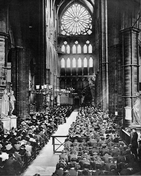 Photograph showing some of the congregation of the Battle of Britain Commemoration service held at Westminster Abbey on 17th September 1944