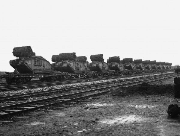 Tank trains standing at Plateau Station awaiting despatch to detraining railheads at the Battle of Cambrai on the Western Front in France during World War I in November 1917