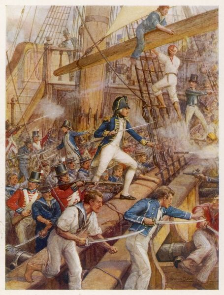 HORATIO, LORD NELSON boarding the captured 'San Nicolas' during the battle of Cape St Vincent, 14 February 1797