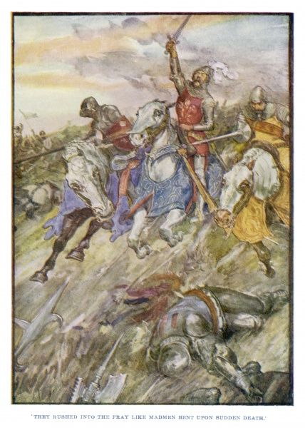 John the blind, King of Bohemia, (on the French side) is killed leading his knights at the front of the field