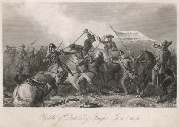 BATTLE OF DRUMCLOG Royal troops, under Claver- house, are defeated by the Covenanters - part of the long struggle of the Presbyterians for religious freedom