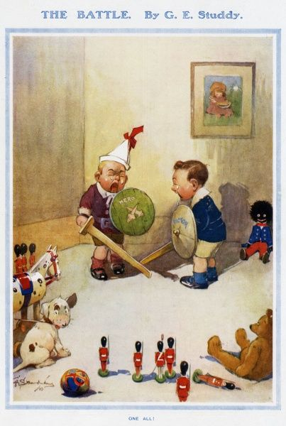 "Two small boys, watched by their pet dog and various toys, play soldiers. Each carries a sword and shields marked ""hero"" and ""victor"" but the game has quite literally ended in tears. The caption of the picture briefly says, ""One all"
