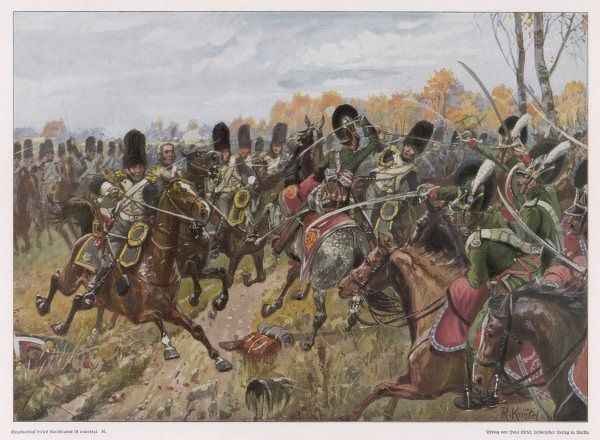 NAPOLEONIC WAR Battle of Hanau - the Bavarian cavalry charge the French Garde Imperiale