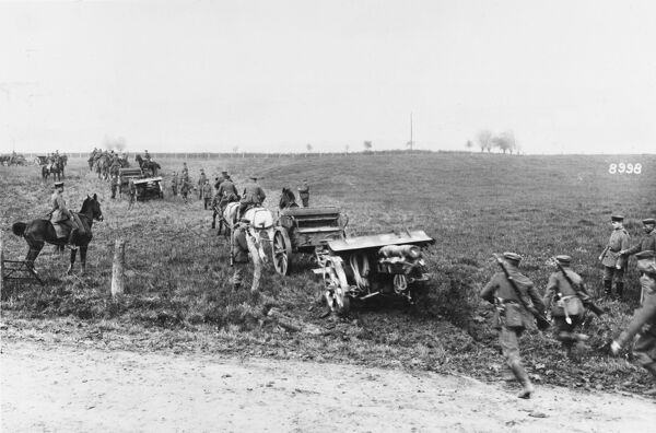 Artillery moving forward at the Battle of Kemmel on the Western Front in Belgium during World War I on 29th September 1918