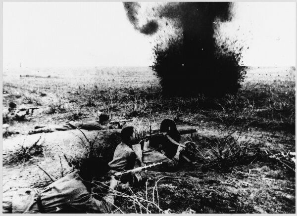 A shell - one of countless thousands - explodes during the decisive Battle of Kursk