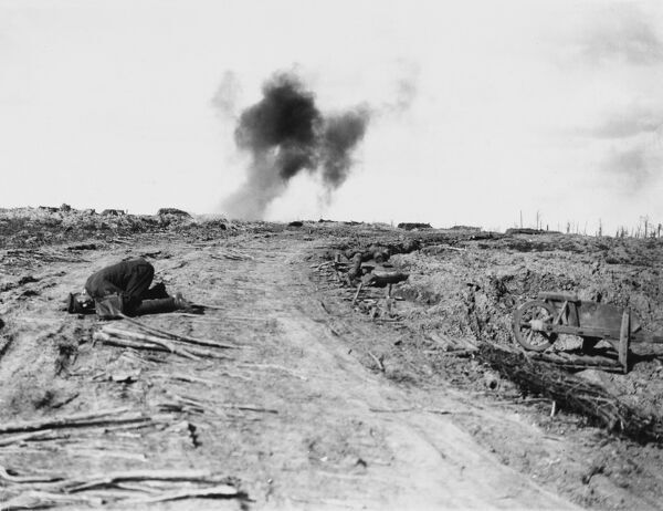 The Battle of Langemarck on Pilkem Ridge, Western Front, Belgium during World War I in August 1917