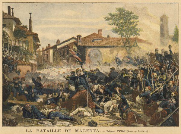 Austrian forces attempting to stop Italian unifications are defeated at Magenta, Lombardy, Italy, by French troops