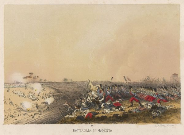 Independence war, battle of MAGENTA : the French under MacMahon defeat the Austrians under marshal Gyulai