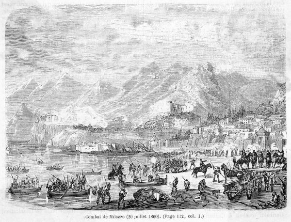Garibaldi's men land at Milazzo, engage the Neapolitan forces and overcome them. Date: 20 July 1860