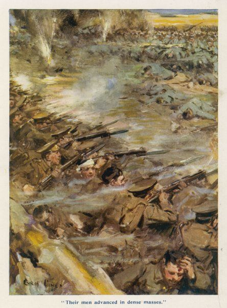 The Second Army Corps (about 80,000 men) under sir Horace Smith-Dorrien defend their trenches against an attack by 100,000 German infantry, supported by artillery