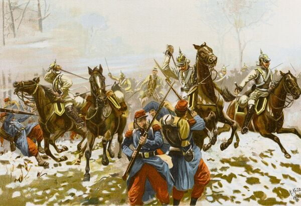 Poupry, near Orleans : the first regiment of Kurassiers charge the French infantry