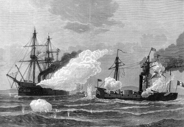 Engraving showing the battle between HMS 'Shah' and 'Amethyst' and the Peruvian Ironclad turret ship 'Huascar' on the 29th May 1877