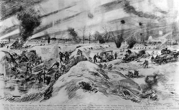 Sketch showing the Allied Second Army crossing the Vloed Beek in Holland during a night attack on the 17th January 1945