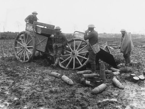 After a direct hit on a German ammunition wagon in Monchy-le-Preux during the Battle of the Scarpe at the Battle of Arras during World War I