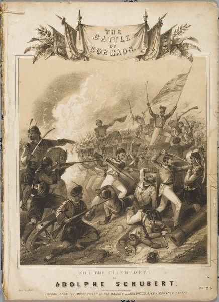 BATTLE OF SOBRAON Sir Hugh Gough defeats a much larger army of Sikhs by skilful strategy and hard fighting - the last battle of the first Sikh war