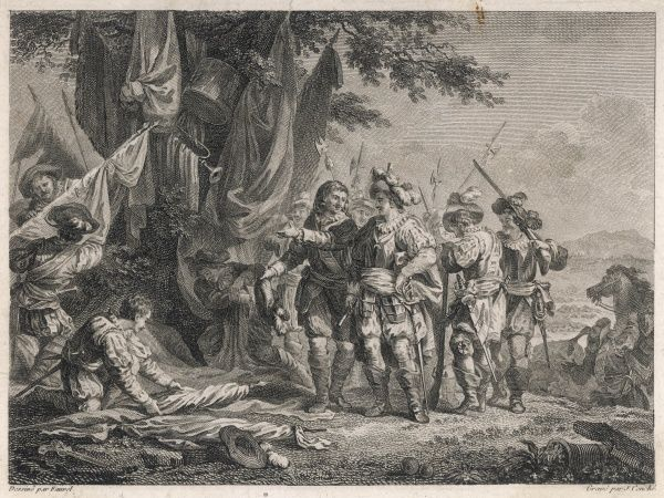 BATTLE OF VILLA VICIOSA During the battle, Felipe V, king of Spain, feels a need to sleep : the duc de Vendome offers him a bed made of flags captured from the enemy