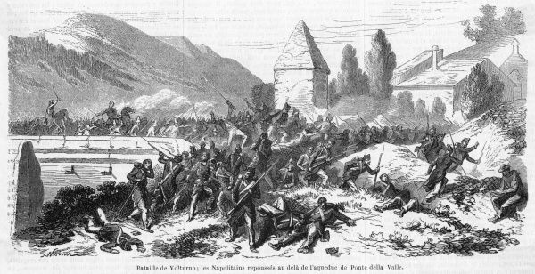 The Neapolitans are forced back beyond the aqueduct of Ponte della Valle : their defeat enables Garibaldi to take Capua