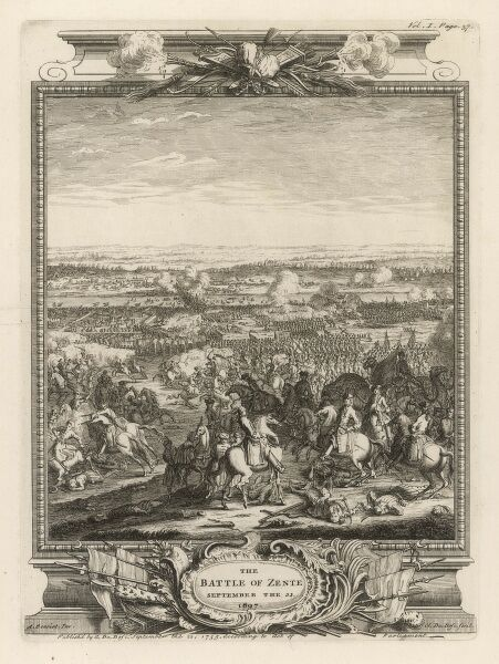 Battle of ZENTA : the Austrians under prince Eugene defeat the Turks under Elwas Mohammed : the Turks lose 29000 men, the Austrians only 500