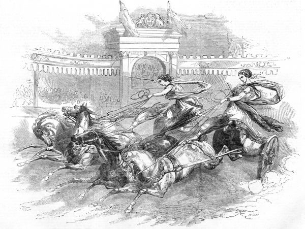 Engraving showing two female charioteers performing at 'Batty's Grand National Hippodrome', Kensington, London, in 1851. Date: 10 May 1851