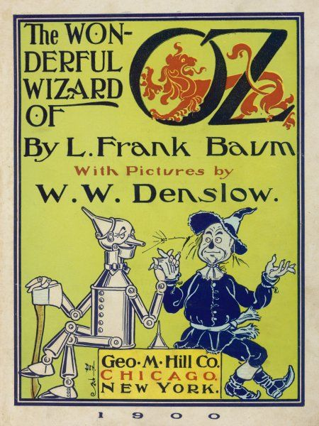 Title-page, featuring the Tin Woodman and the Scarecrow