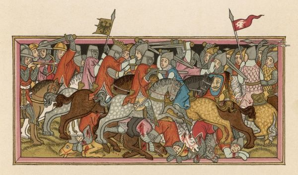 BATTLE OF MUHLDORF Louis of Bavaria defeats and captures Frederick Duke of Austria in a mounted battle