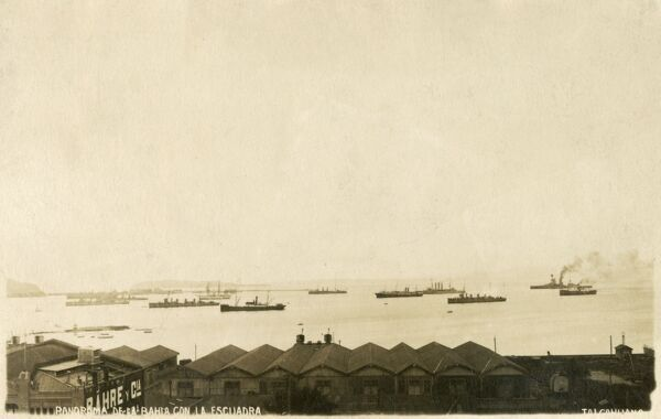Panorama of the Bay at Talcahuano, Chile (in the Biobio Region) with moored naval ships. Date: circa 1910s