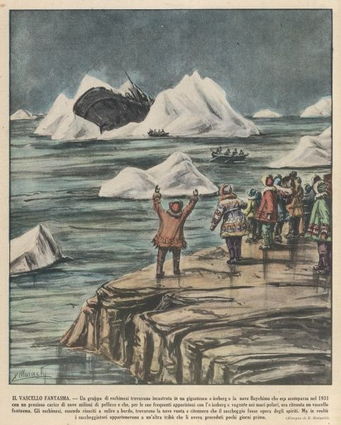 "The cargo ship ""Baychimo"" lost in 1931, is seen stranded on an iceberg by Eskimos in 1936"
